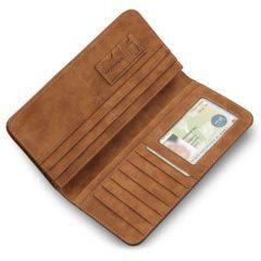 Foto de billetera larga casual bifold de cuero PU mostrando su vista interior con tarjetero en color marrón