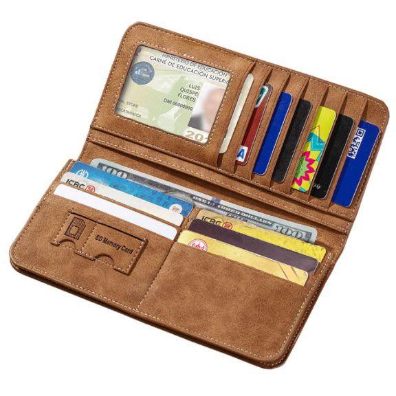 Foto de billetera larga casual bifold de cuero PU donde se aprecia la capacidad de almacenamiento en color marrón