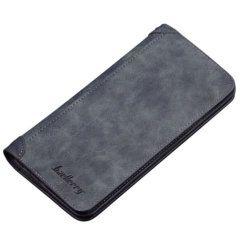 Foto de presentación de billetera larga casual bifold de cuero PU en color azul