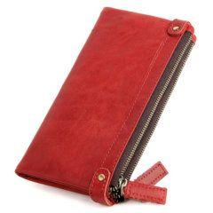Foto de vista posterior de billetera larga clásica con doble cierre y broches de cuero natural en color rojo modelo solo para mujer