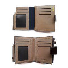 Foto de billetera de bolsillo elegante con broche y monedero de cuero PU mostrando la vista de sus capas internas