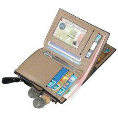 Foto de billetera de bolsillo elegante con broche y monedero de cuero PU mostrando su aperturas y capacidad de almacenamiento
