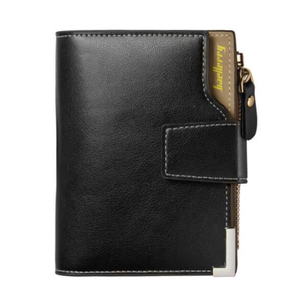 Foto de billetera de bolsillo elegante con broche y monedero de cuero PU mostrando variación en color negro