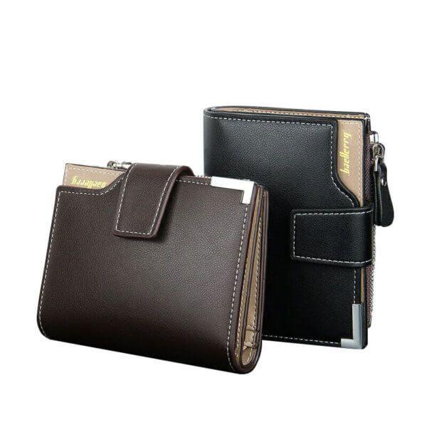 Foto de billetera de bolsillo elegante con broche y monedero donde se muestran los dos colores principal café y negro en posición vertical y horizontal