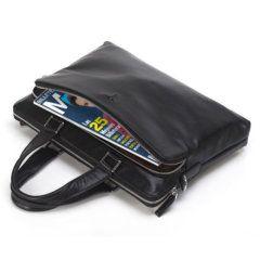 Foto de maletín clásico urbano ejecutivo de cuero natural mostrando vista de capacidad frontal en color negro