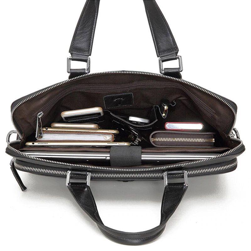 4b7e9ed4c Foto de maletín clásico urbano ejecutivo de cuero natural mostrando vista  de capacidad de bolsillo principal