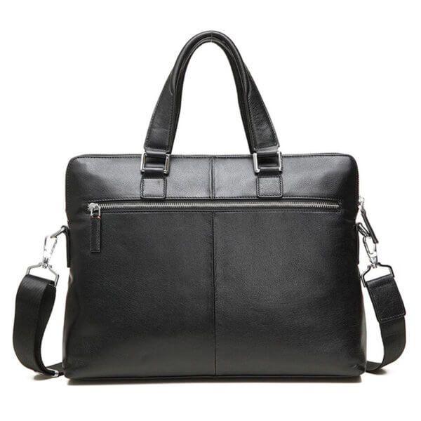 Foto de maletín clásico urbano ejecutivo de cuero natural mostrando vista posterior en color negro