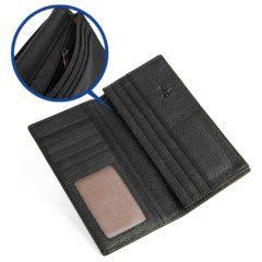 Foto de billetera larga clásica bifold de cuero natural que muestra detalle de cierre interno en color negro