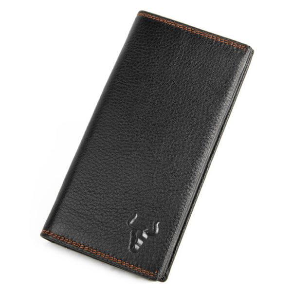 Foto de presentación de billetera larga clásica bifold de cuero natural en color negro