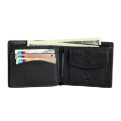 Foto de billetera clásica con monedero de cuero natural mostrando su capacidad de almacenamiento frontal en color negro