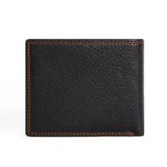 Foto de billetera clásica con monedero de cuero natural mostrando su vista posterior en color negro