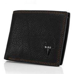 Foto de presentación de billetera clásica con monedero de cuero natural en vista diagonal y en color negro