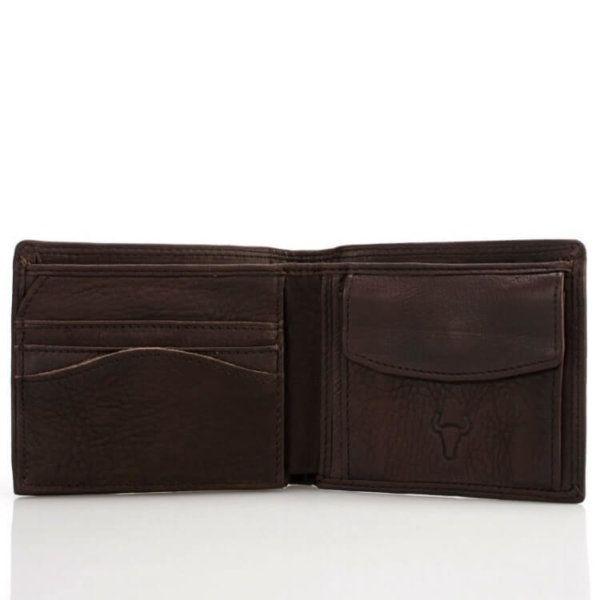 Foto de billetera clásica con monedero de cuero natural mostrando su vista frontal en color chocolate