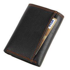 Foto de billetera clásica trifold de cuero natural mostrando su bolsillo posterior en color negro