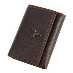 Foto de presentación de la billetera trifold con tarjetero hecha de cuero genuino en color marrón.