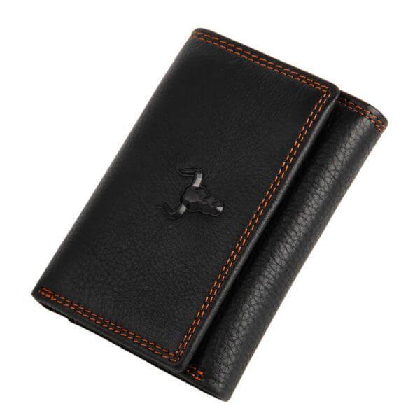 Foto de presentación de billetera clásica trifold de cuero natural en color negro
