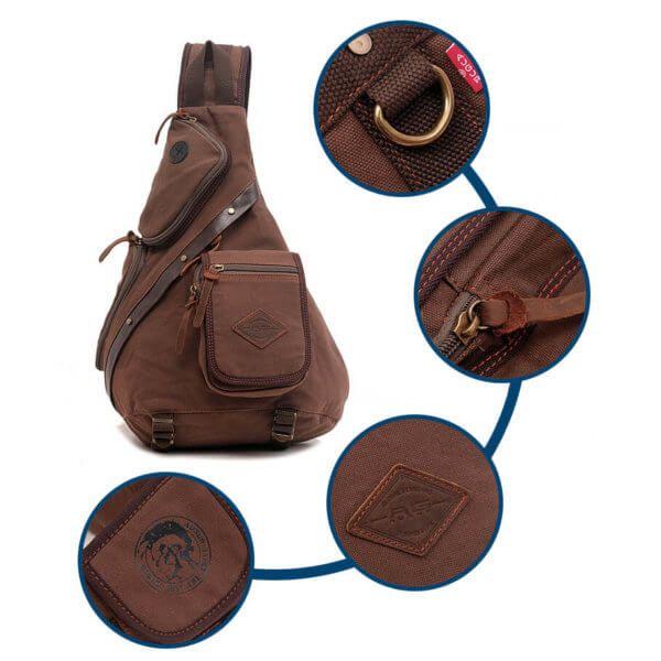 Foto de mochila crossbody vintage de lona y cuero mostrando sus detalles y accesorios en color café