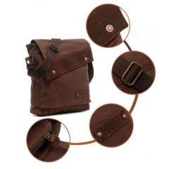 Foto que muestra los detalles de accesorios de morral vertical vintage urbano de lona y cuero en color marrón