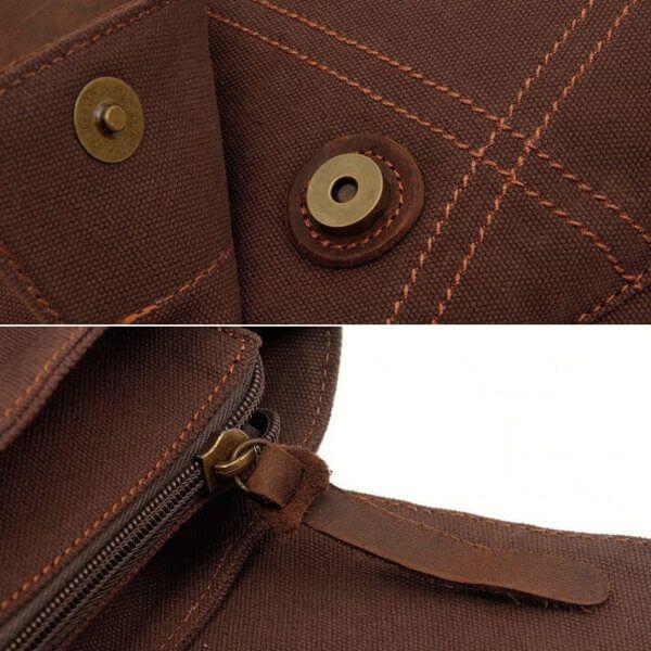 Foto que muestra los broche y cierre de morral vertical vintage urbano de lona y cuero en color marrón