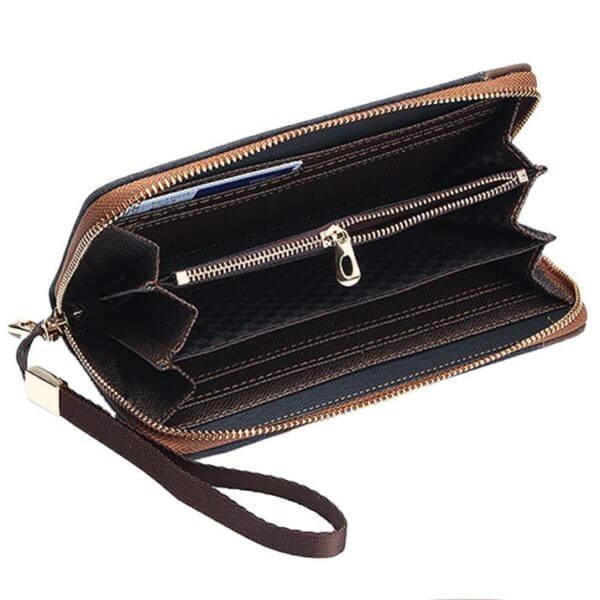 Foto de billetera larga casual con cierre de lona canvas mostrando su vista interior de bolsillos y monedero