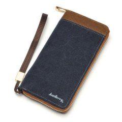 Foto de billetera larga casual con cierre y monedero de lona canvas mostrando su variación en color azul