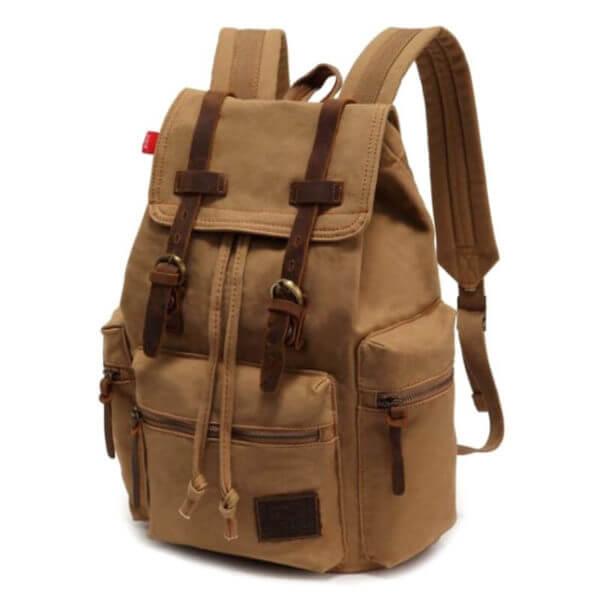 Foto de presentación en color caqui de mochila vintage urbana de lona y cuero