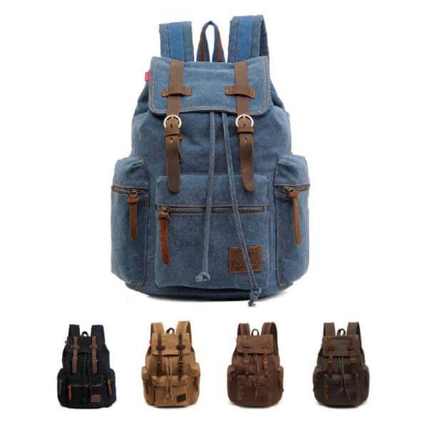 Foto de mochila vintage urbana de lona y cuero donde se muestran los colores disponibles los cuales son: azul, negro, caqui, café y verde olivo