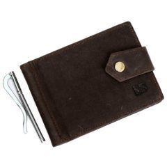 Foto de presentación de billetera clip con broche y cierre de cuero natural en color café