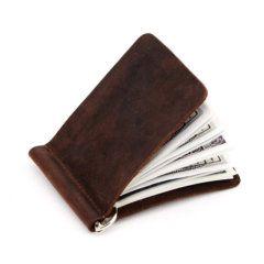 Foto de billetera vintage con clip minimalista y monedero de cuero natural mostrando su almacenamiento de billetes en color café