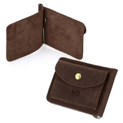 Foto de presentación de la billetera vintage con clip minimalista y monedero de cuero natural en color café