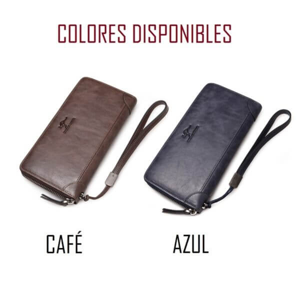 Foto de billetera larga casual con cierre de cuero natural mostrando sus colores disponibles en café y azul