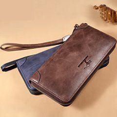 Foto de billetera larga casual con cierre de cuero natural mostrando su comparativa de colores en café y azul