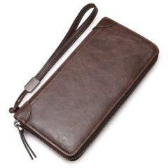Foto de billetera larga casual con cierre de cuero natural mostrando su vista posterior en color café
