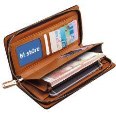 Foto de billetera larga formal ejecutiva de cuero natural mostrando capacidad interior de almacenamiento