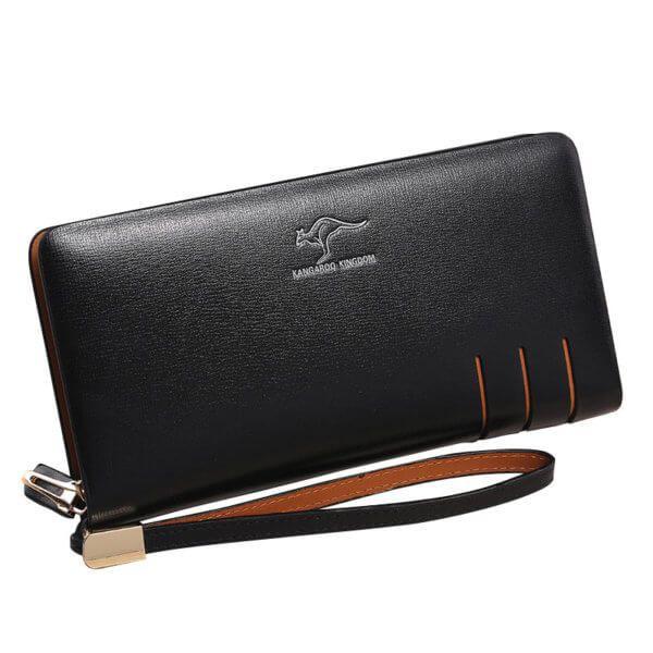 Foto de presentación de billetera larga formal ejecutiva de cuero natural mostrando variación color negro
