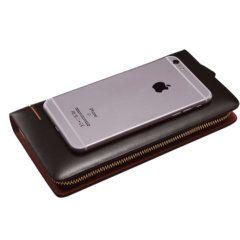Foto de billetera larga formal ejecutiva de cuero natural mostrando referencia de medidas