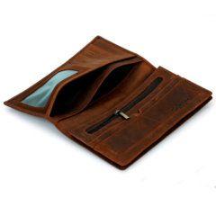 Foto de billetera larga vintage bifold de cuero natural mostrando la vista de bolsillos en color marrón