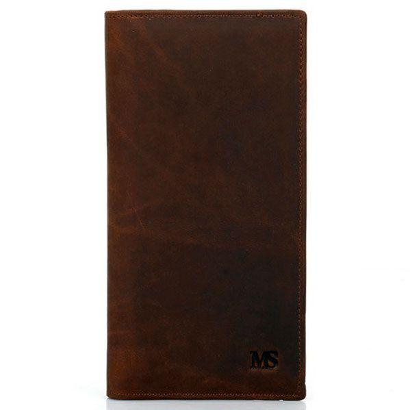 Foto de billetera larga vintage bifold de cuero natural mostrando su vista frontal en color marrón