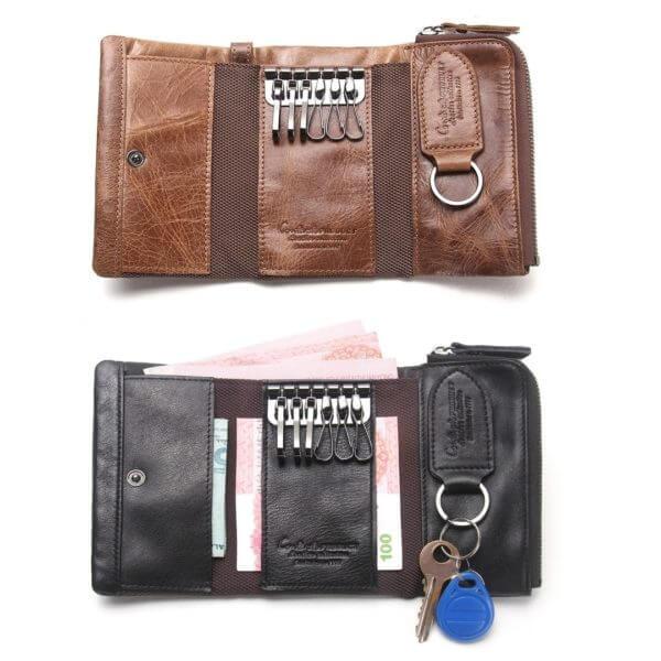 Foto de billetera con monedero de cuero natural mostrando su portallaves en color marrón y negro