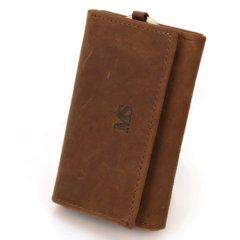 Foto de presentación de la billetera portallaves vintage minimalista de cuero natural en color marrón