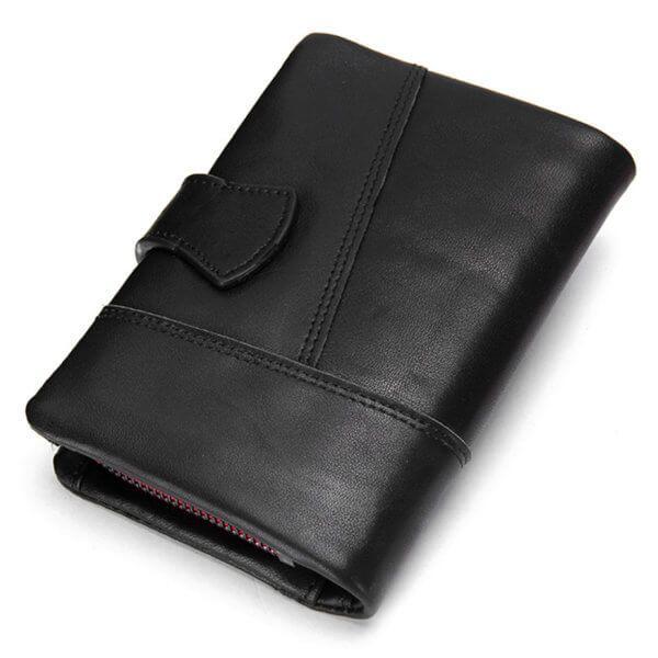 Foto de vista posterior de billetera vertical casual con monedero y broche de cuero natural en color negro