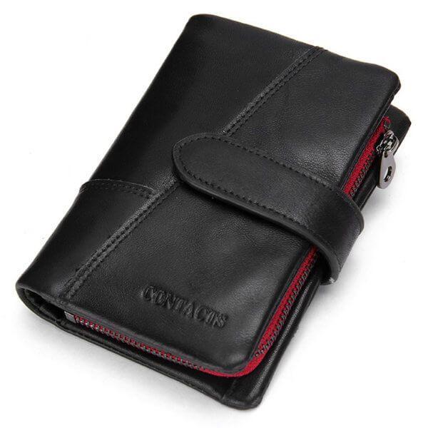 Foto de presentación de billetera vertical casual con monedero y broche de cuero natural color negro