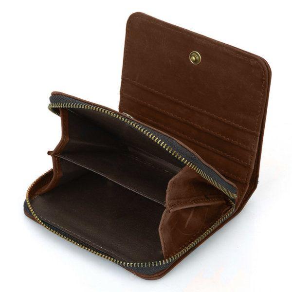 Foto de billetera vertical vintage bifold con cierre de cuero natural mostrando su monedero en color marrón