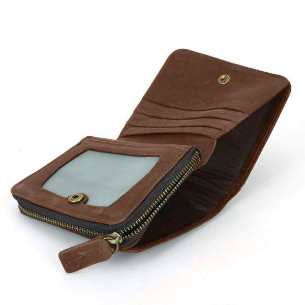 Foto de billetera vertical vintage bifold con cierre de cuero natural mostrando su vista interior de bolsillos en color marrón