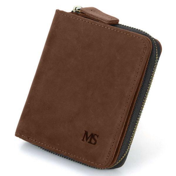 Foto de presentación de billetera vertical vintage bifold con cierre de cuero natural en color marrón