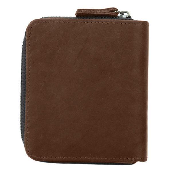 Foto de Vista posterior de billetera vertical vintage bifold con cierre de cuero natural mostrando su vista posterior en color marrón