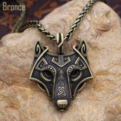 Foto de collar fenrir amuleto de lobo vikingo referencia mostrando en color bronce