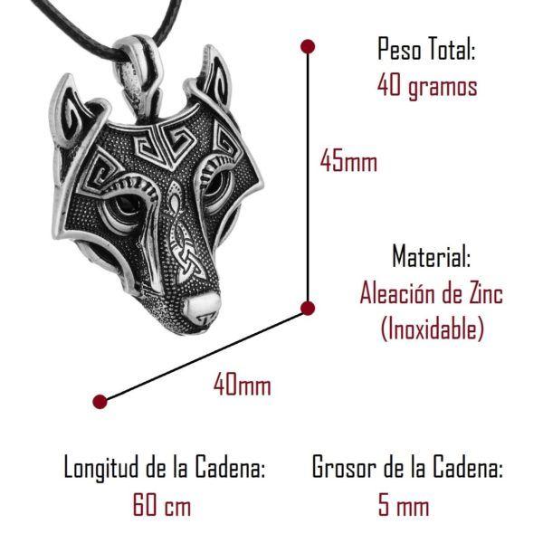 Foto de collar fenrir amuleto de lobo vikingo mostrando sus detalles y medidas en color plata