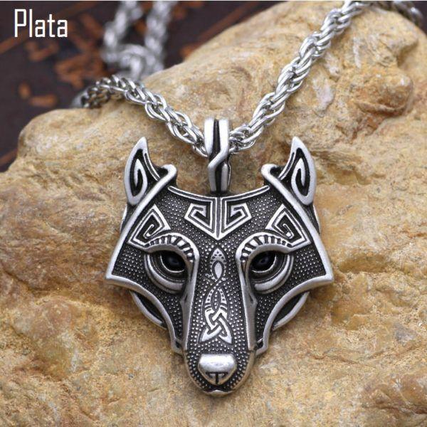 Foto de collar fenrir amuleto de lobo vikingo referencia mostrando en color plata