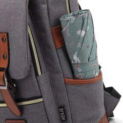 Foto de mochila vintage urbana de oxford mostrando vista de bolsillo lateral derecho en color gris